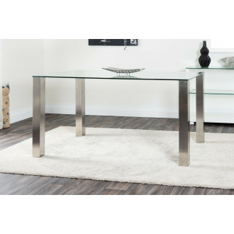 Salerno Clear Glass And Brushed Stainless Steel Metal Dining Table