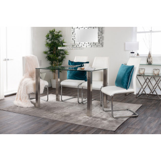 Salerno Clear Glass Brushed Stainless Steel Metal Dining Table And 4 Lorenzo Chairs Set
