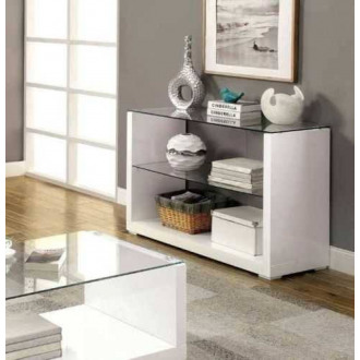 Sandro White High Gloss And Glass Console Table
