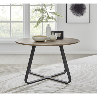Santorini Brown Wood Contemporary Round Dining Table