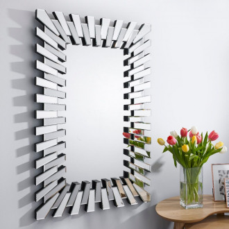 Starburst Silver Rectangular Modern Wall Mirror