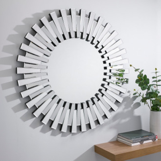 Starburst Small/Large Silver Round Modern Mirror