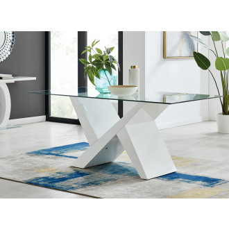 Torino Large White High Gloss And Glass Modern Dining Table