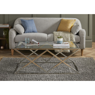 Varallo Clear Glass and Chrome Metal Coffee Table