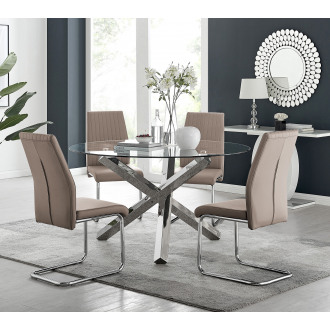 Vogue Large Round Chrome Metal Clear Glass Dining Table And 4 and 6 Lorenzo Dining Chairs Set