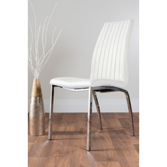 2x Isco Faux Leather Upholstered White Chrome Dining Chairs