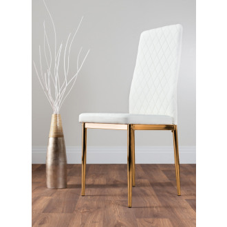 4x Milan White Gold Hatched Faux Leather Dining Chairs