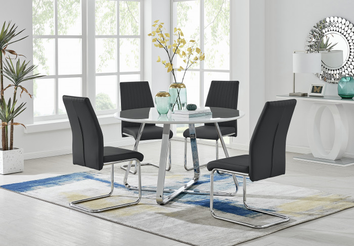 Santorini White Wood Contemporary Round Dining Table And 4 Lorenzo Chairs