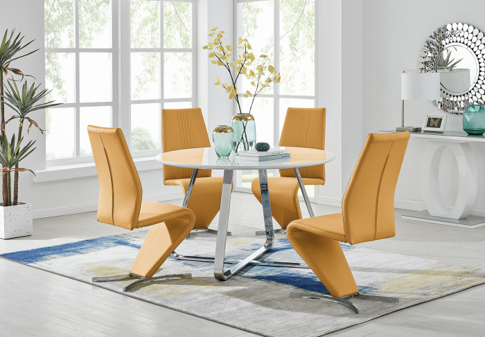 Santorini White Wood Contemporary Round Dining Table And 4 Willow Chairs