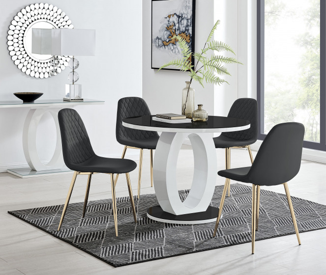 Giovani High Gloss And Glass 100cm Round Dining Table And 4 Corona Gold Chairs Set