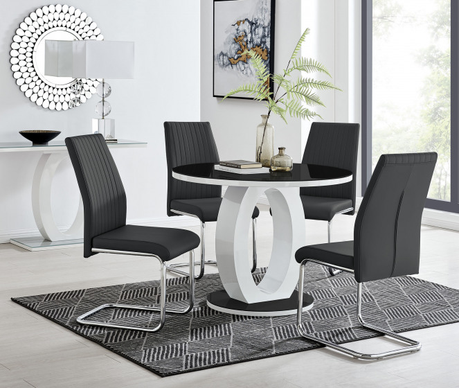 Giovani High Gloss And Glass 100cm Round Dining Table And 4 Lorenzo Chairs Set
