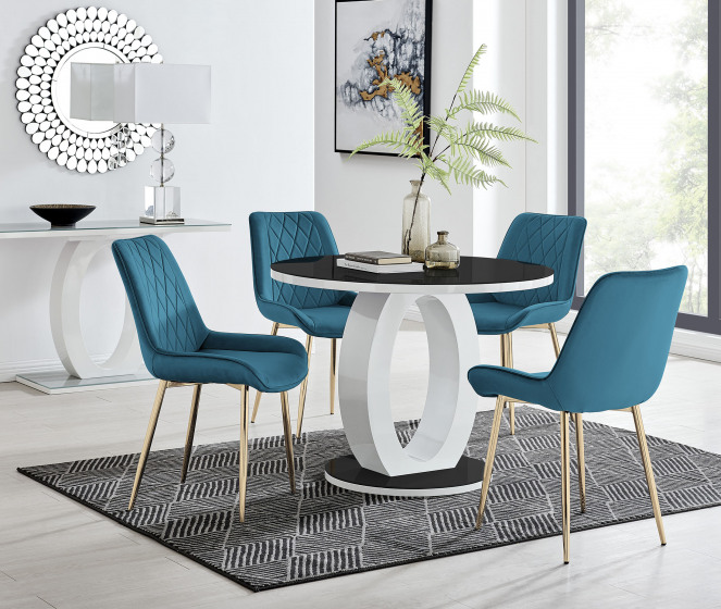 Giovani Round Black 100cm Table and 4 Pesaro Gold Leg Chairs