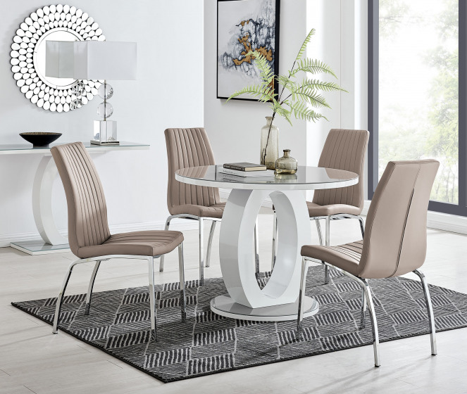 Giovani Grey White High Gloss And Glass 100cm Round Dining Table And 4 Isco Chairs Set