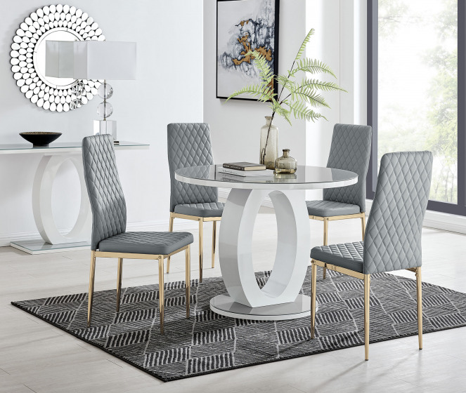 Giovani Round Grey 100cm Table and 4 Gold Leg Milan Chairs