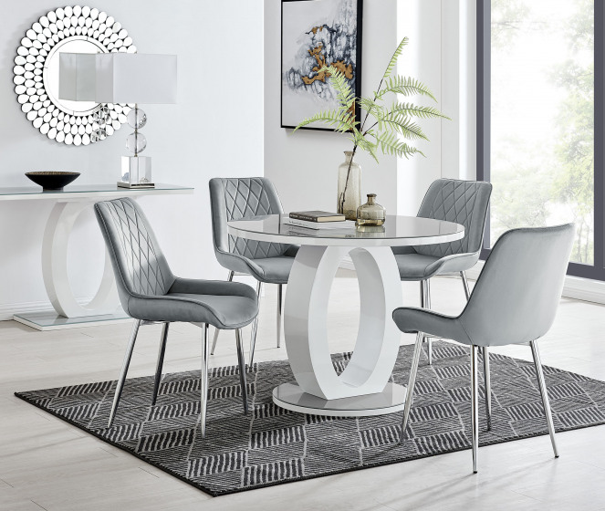 Giovani Round Grey 100cm Table and 4 Pesaro Silver Leg Chairs