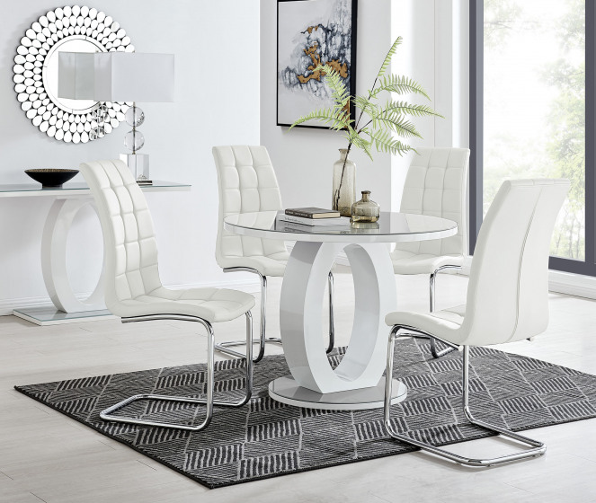 Giovani Grey White High Gloss And Glass 100cm Round Dining Table And 4 Murano Chairs Set