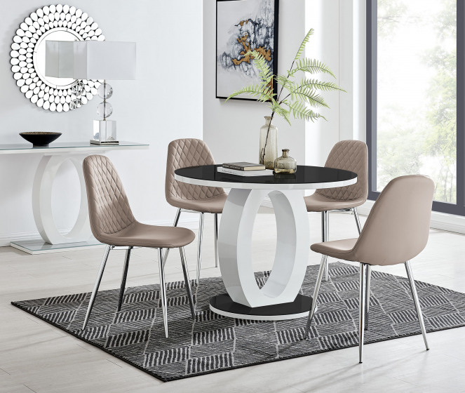 Giovani High Gloss And Glass 100cm Round Dining Table And 4 Corona Silver Chairs Set