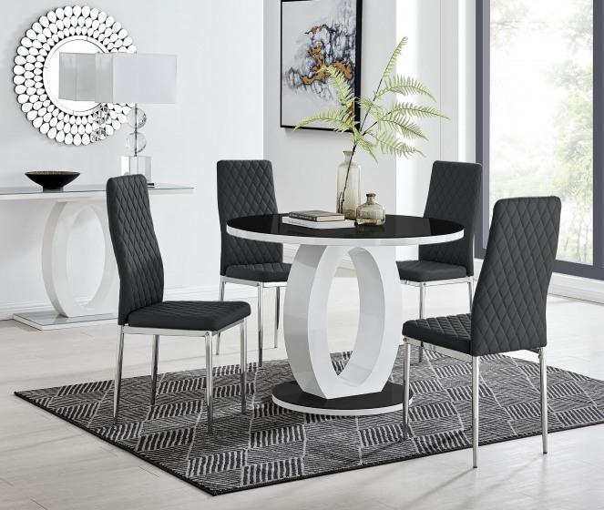 Giovani High Gloss And Glass 100cm Round Dining Table And 4 Milan Chairs Set