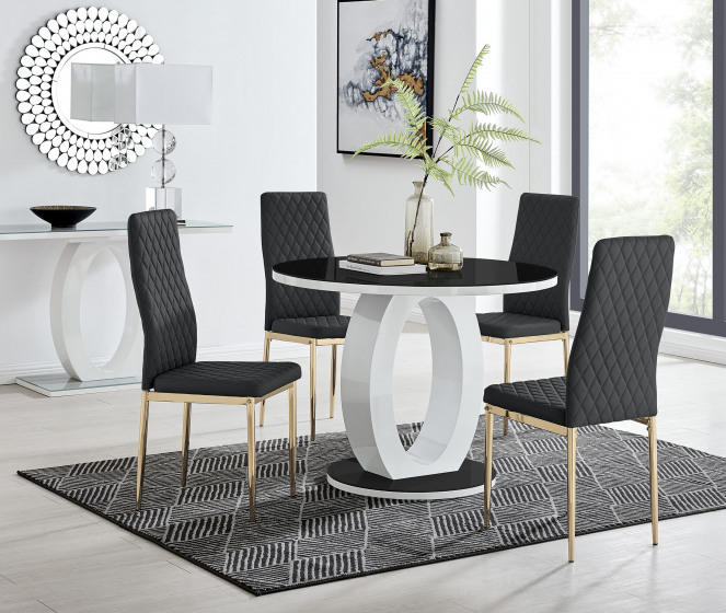 Giovani Round Black 100cm Table and 4 Gold Leg Milan Chairs