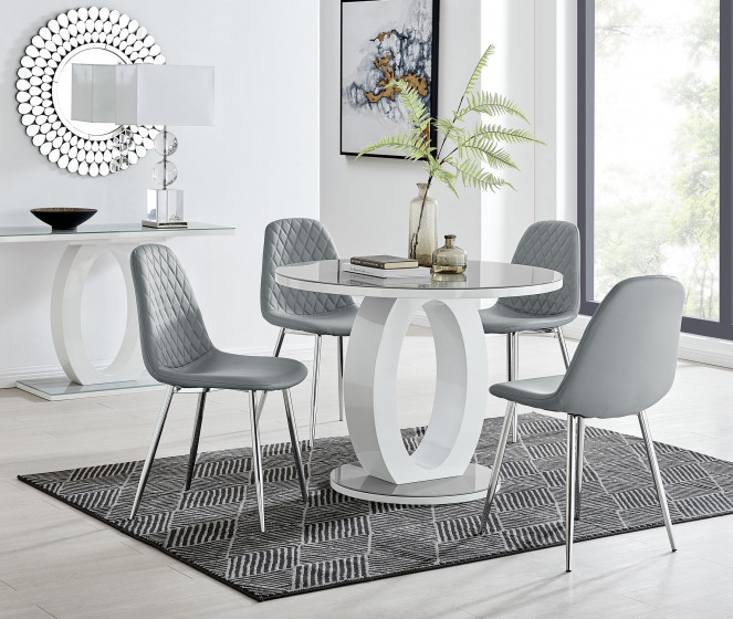 Giovani Grey White High Gloss And Glass 100cm Round Dining Table And 4 Corona Silver Chairs Set