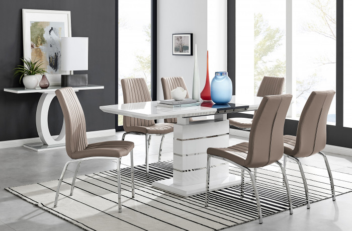 Renato High Gloss Extending Dining Table and  6 Isco Chairs