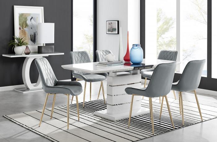 Renato High Gloss Extending Dining Table and  6 Pesaro Gold Leg Chairs