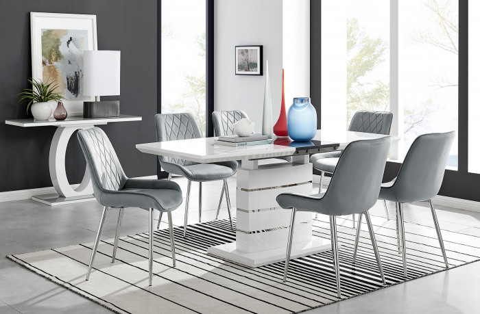 Renato High Gloss Extending Dining Table and  6 Pesaro Silver Leg Chairs