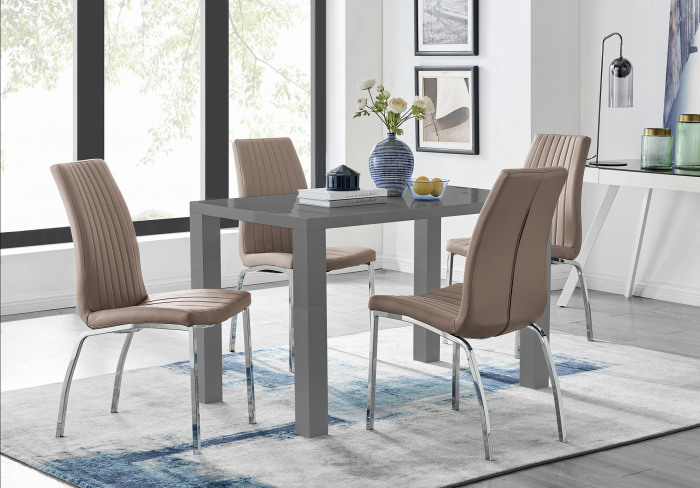 Pivero Grey High Gloss Dining Table And 4 Isco Chairs Set