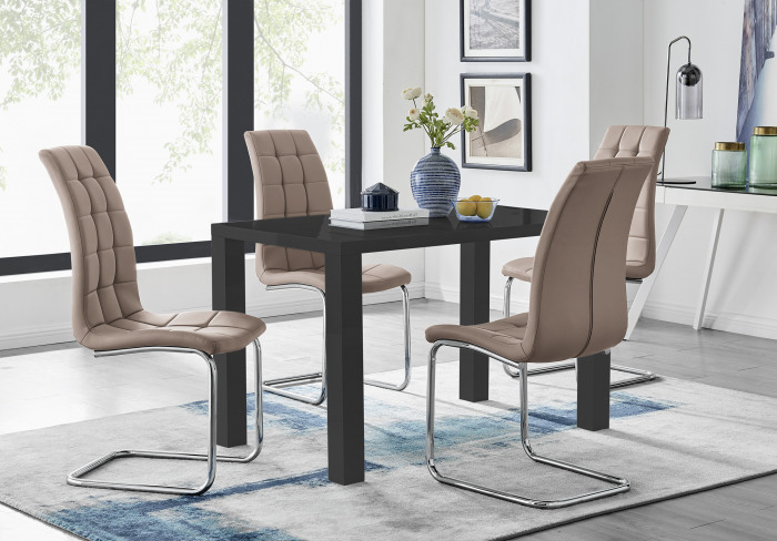 Pivero 4 Black Dining Table and 4 Murano Chairs