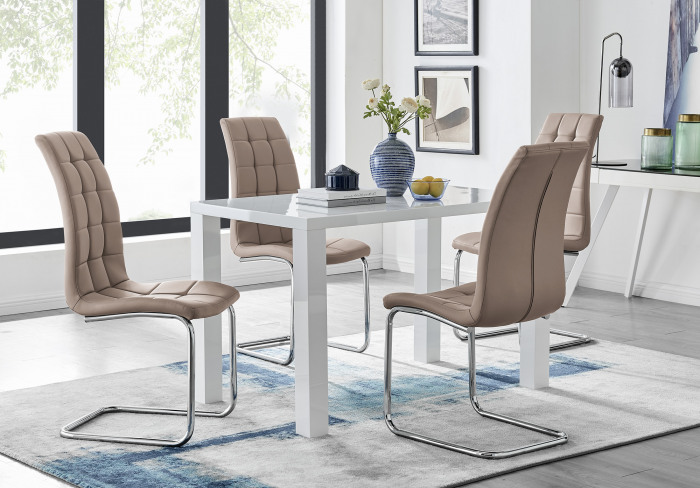 Pivero White High Gloss Dining Table And 4 Murano Chairs Set