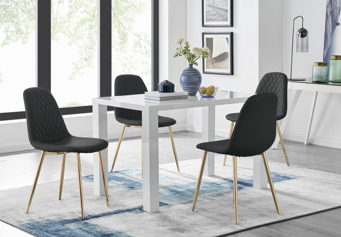 Pivero White High Gloss Dining Table And 4 Corona Gold Chairs Set