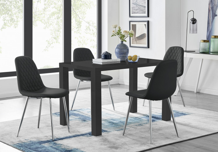 Pivero 4 Black Dining Table and 4 Corona Silver Leg Chairs