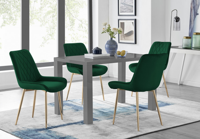 Pivero 4 Grey Dining Table and 4 Pesaro Gold Leg Chairs