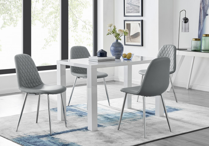 Pivero White High Gloss Dining Table And 4 Corona Silver Chairs Set