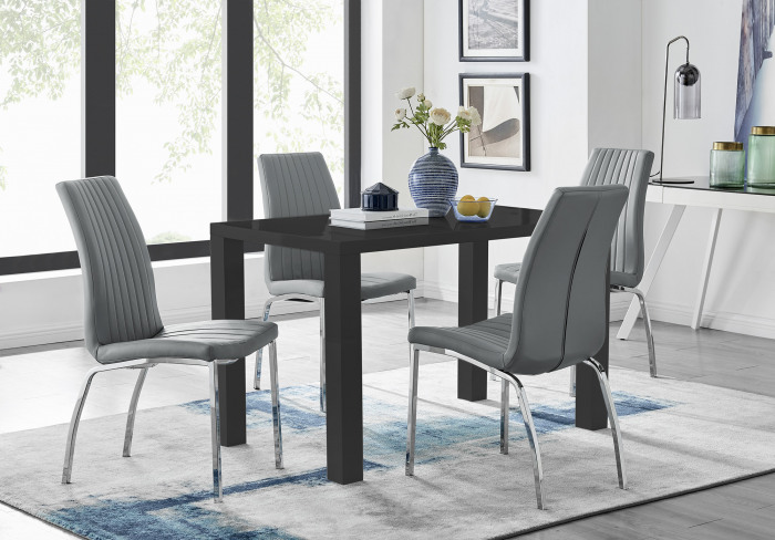 Pivero 4 Black Dining Table and 4 Isco Chairs