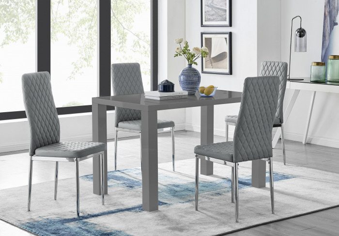 Pivero 4 Grey High Gloss Dining Table And 4 Modern Milan Chairs Set