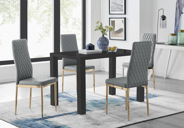 Pivero 4 Black Dining Table and 4 Gold Leg Milan Chairs