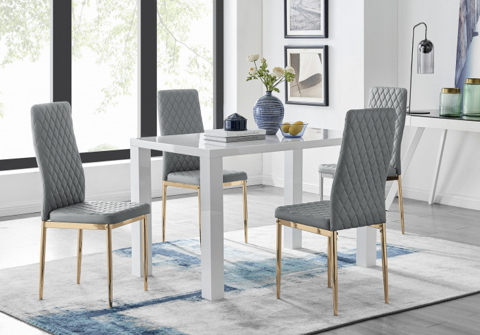 Pivero 4 White Dining Table and 4 Gold Leg Milan Chairs