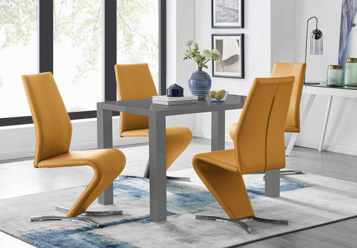 Pivero Grey High Gloss Dining Table and 4 Luxury Willow Chairs Set