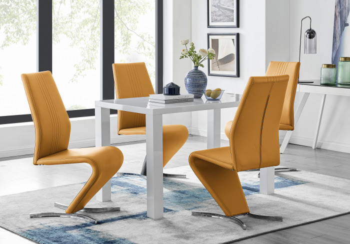 Pivero White High Gloss Dining Table and 4 Willow Chairs Set