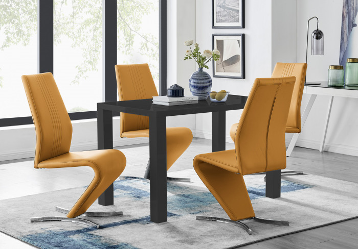 Pivero Black High Gloss Dining Table and 4 Willow Chairs Set