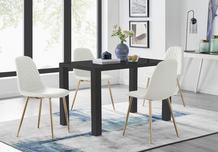 Pivero 4 Black Dining Table and 4 Corona Gold Leg Chairs