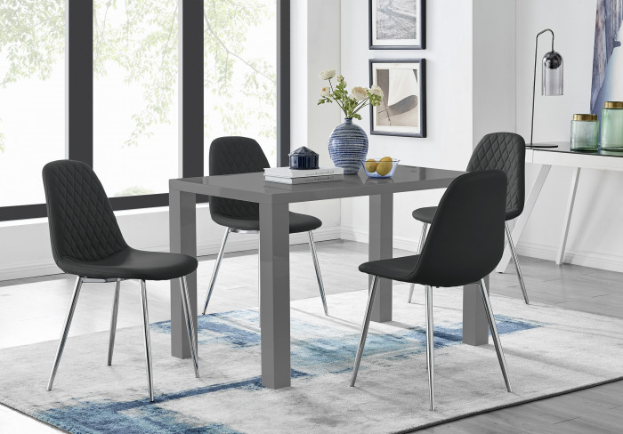 Pivero Grey High Gloss Dining Table And 4 Corona Silver Chairs Set