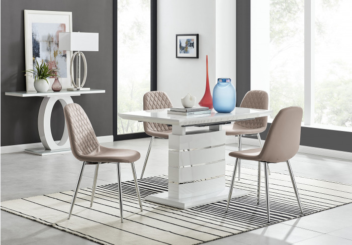 Renato 120cm High Gloss Extending Dining Table and 4 Corona Silver Leg Chairs