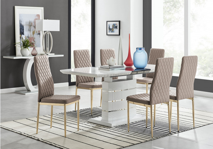Renato 120cm High Gloss Extending Dining Table and 4 Gold Leg Milan Chairs