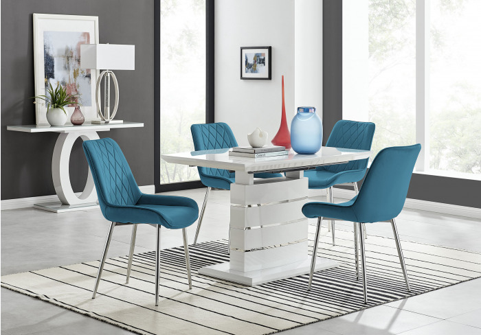 Renato 120cm High Gloss Extending Dining Table and 4 Pesaro Silver Leg Chairs
