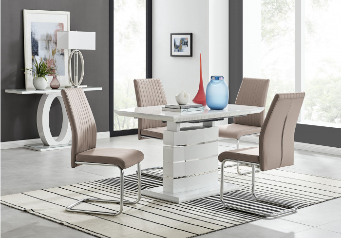 Renato 120cm High Gloss Extending Dining Table and 4 Lorenzo Chairs