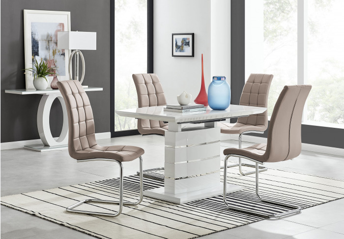 Renato 120cm High Gloss Extending Dining Table and 4 Murano Chairs