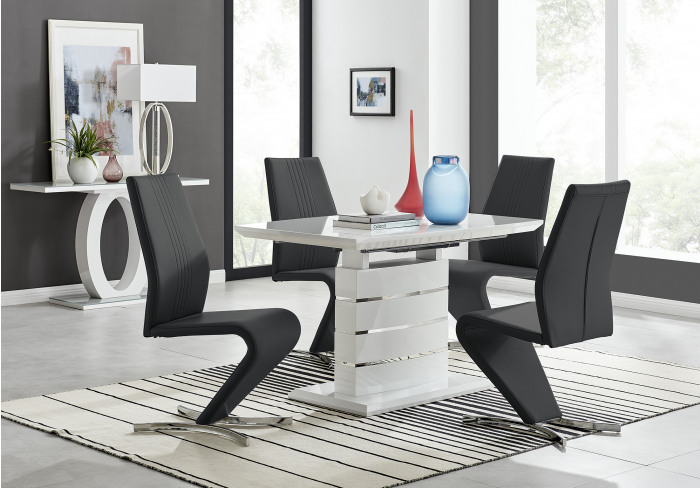 Renato 120cm High Gloss Extending Dining Table and 4 Willow Chairs