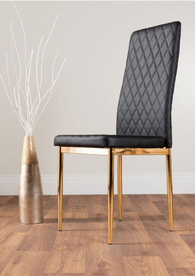 6x Milan Black Gold Hatched Faux Leather Dining Chairs